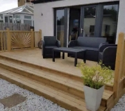 Close up view of decking with steps