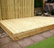 Decking platform with backdrop