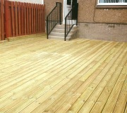 Decking in line with concrete steps