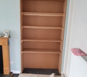Old Alcove with Artex sheeted MDF and shelving